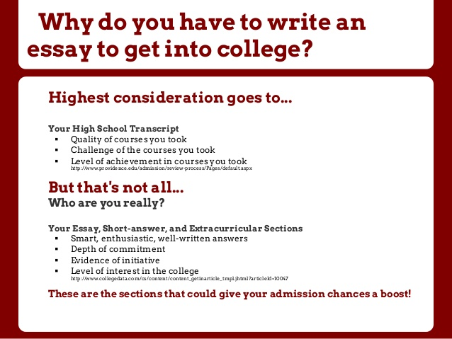 Help writing college admissions essay