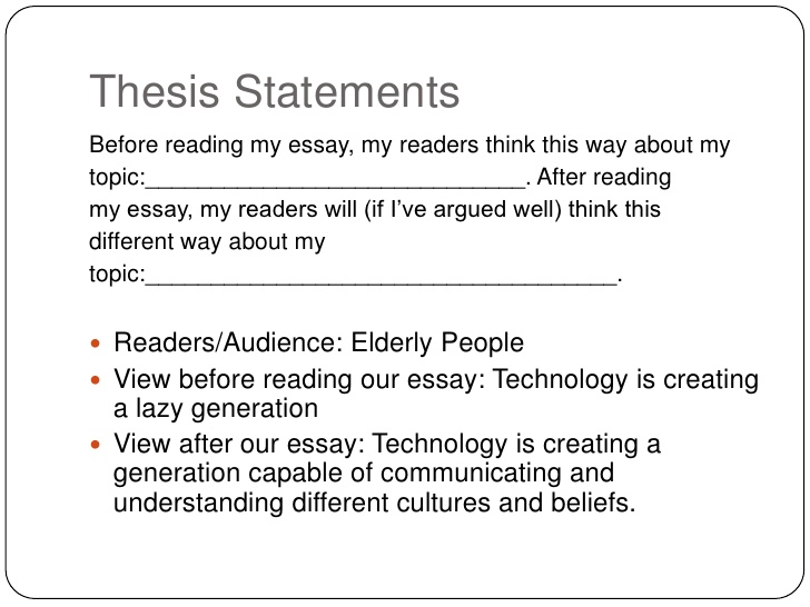 Thesis statements for a research paper