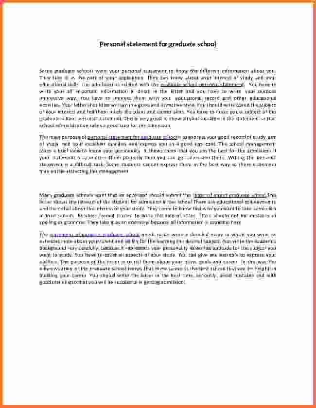 Personal statement graduate