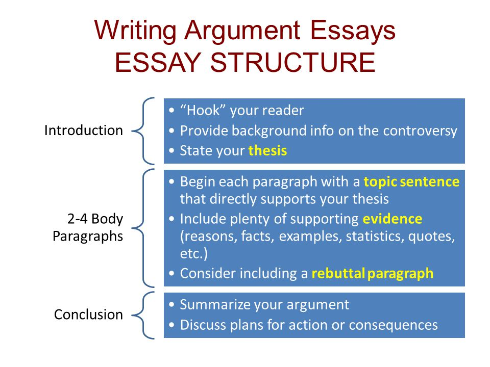 Writing argumentative essays
